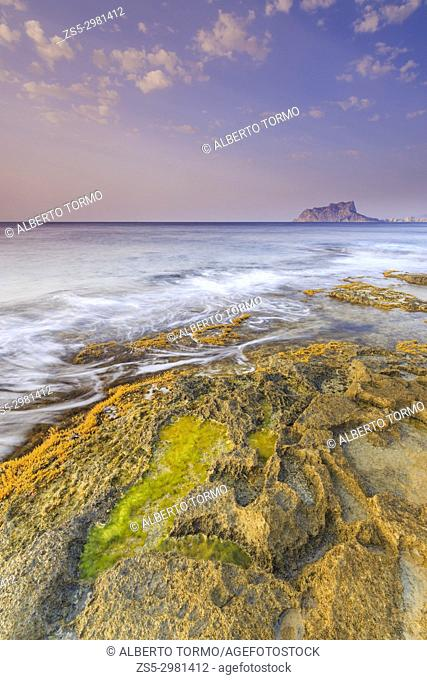 Sunrise at Cap Blanc in Moraira, with Peñon de Ifach view, Teulada Moraira, Alicante, Costa Blanca, Comunidad Valenciana, Spain, Europe