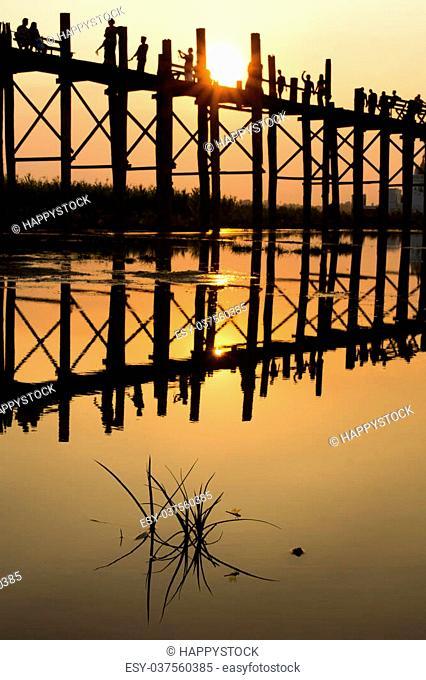 Silhouette during sunset at U Bein Bridge, Mandalay, Myanmar