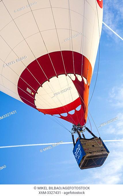 Hot-air balloon. Navarre, Spain, Europe