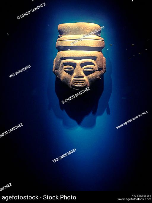 A Mexica Mesoamerican mask decorates the Museo del Templo Mayor museum in Mexico City, Mexico