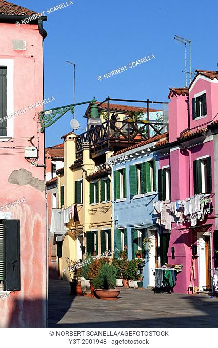 Europe, Italy, Veneto, Burano, classified as World Heritage by UNESCO. The colorful houses of the village of Burano