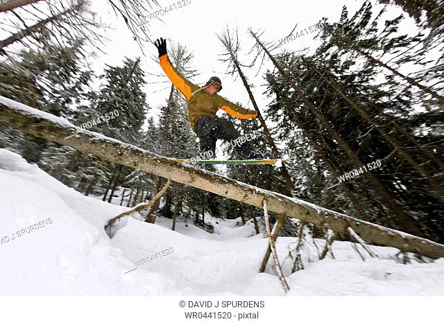 A snowboarder riding the back country sliding a fallen tree