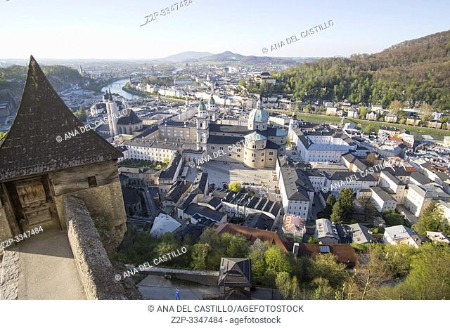 SALZBURG AUSTRIA ON APRIL 17, 2019: Historic town of Salzburg with Salzach river Austria from the top of the castle Hohensalzburg Fortress