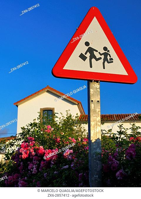 School sign post at Venta Las Ranas village, Villaviciosa village council. Asturias autonomous community. Spain