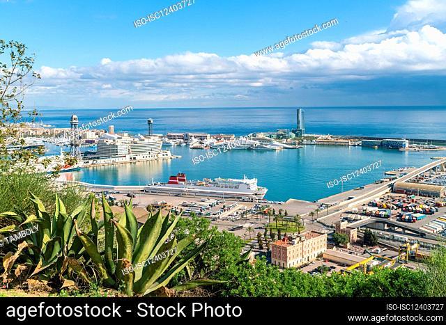 Spain, Barcelona, View of harbor