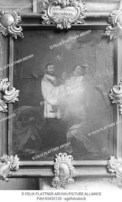 Saint Peter Claver baptizes a kneeling African, while a white nobleman holds the Messbuch and a candle, Cartagena (Bolivar), Columbia, 1958