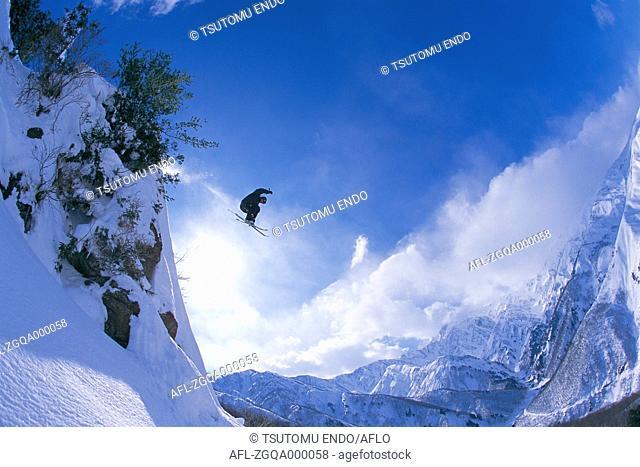 Extreme skiing, Nagano Prefecture, Japan