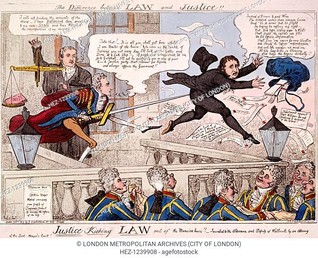 'The difference between law and justice', 1809; showing the Lord Mayor, John Atkins, using the City sword to prod the posterior of a visitor who leaps over the...