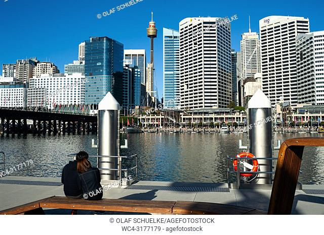 Sydney, New South Wales, Australia - A view from the waterfront at Darling Harbour of Sydney's cityscape of the Central Business District