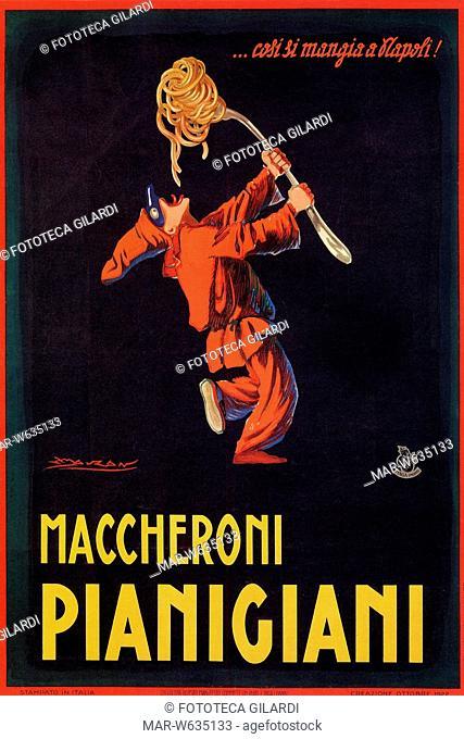 Achille Luciano MAUZAN. (1883?1952) Pulcinella, simbolo di Napoli, mangia la pasta con una enorme forchetta '.. così si mangia a Napoli!'