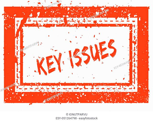 KEY ISSUES on orange square frame rubber stamp with grunge texture. Illustration