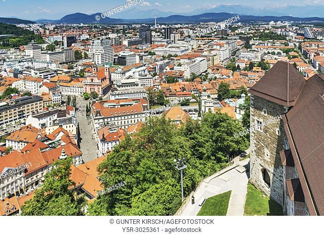 View from Ljubljana Castle over the town, to the Franciscan church (Franciskanska cerkev) and to the bridge Tromostovje (Three Bridges)