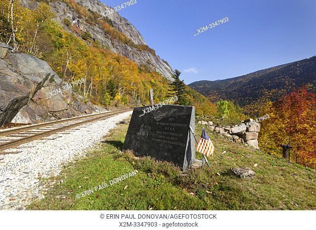 The site of the Mt. Willard Section House along the old Maine Central Railroad, next to the Willey Brook Trestle, in Crawford Notch in New Hampshire