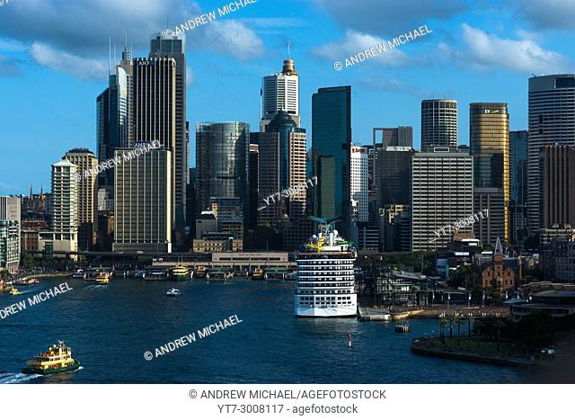 Aerial view of Circular quay and Sydney skyline, New South Wales, Australia