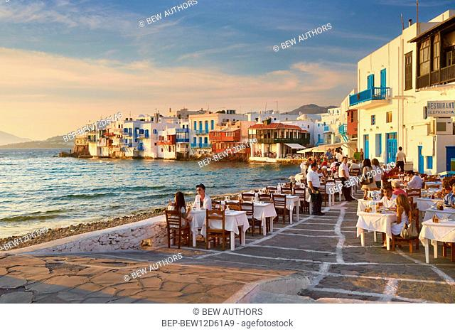 Greece, Mykonos, greek island on the Cyclades archipelago. 'Little Venice', houses by the sea in the capital of the island (Chora)