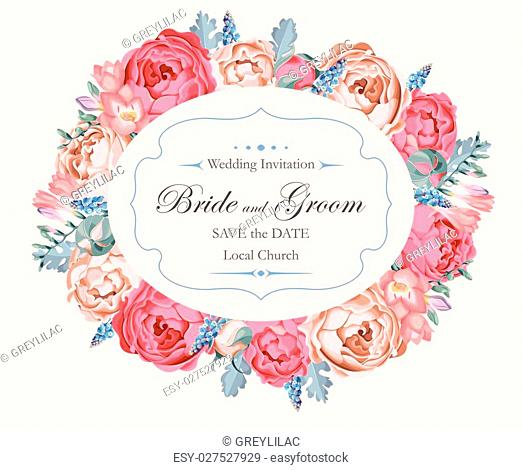 Vector vintage wedding invitation decorated with peony roses