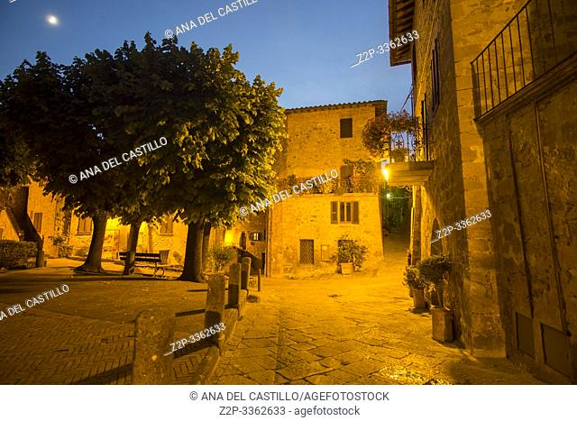 Typical medieval village of Monticchiello in the province of Siena Tuscany Italy on July 7, 2019
