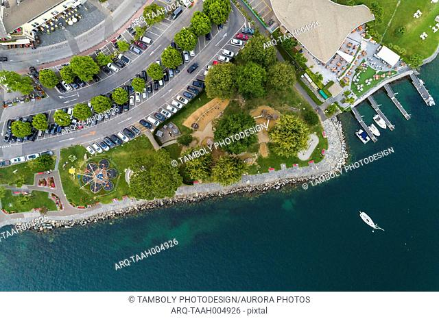 Ascona town promenade on Lake Maggiore seen from directly above, Locarno, Canton Ticino, Switzerland