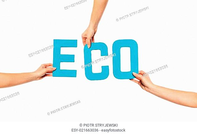 Turquoise alphabet lettering spelling ECO