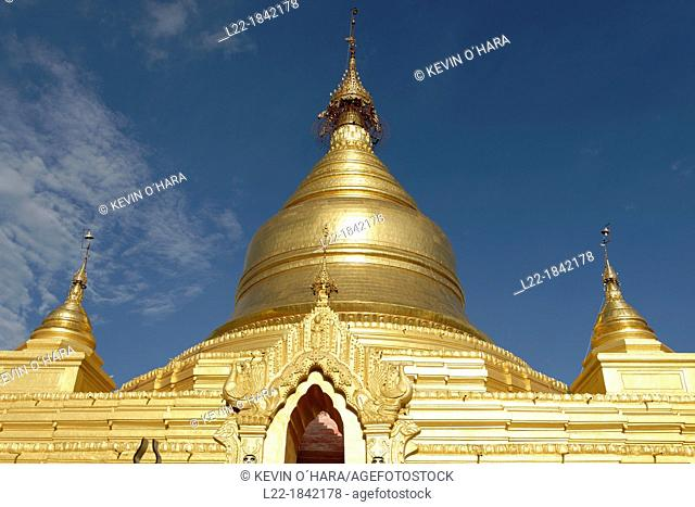 The Kuthodaw Pagoda built by King Mindon in 1857, modeled on the Shwezigon Pagoda at Nyaung U, is surrounded by 729 upright stone slabs on which are inscribed...