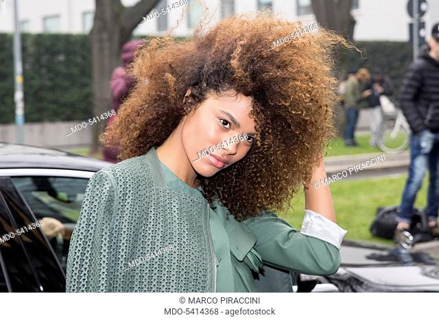 French model Tina Kunakey coming at Emporio Armani fashion show during the Fahion Week F/W 2017/2018. Milan (Italy), february 24, 2017