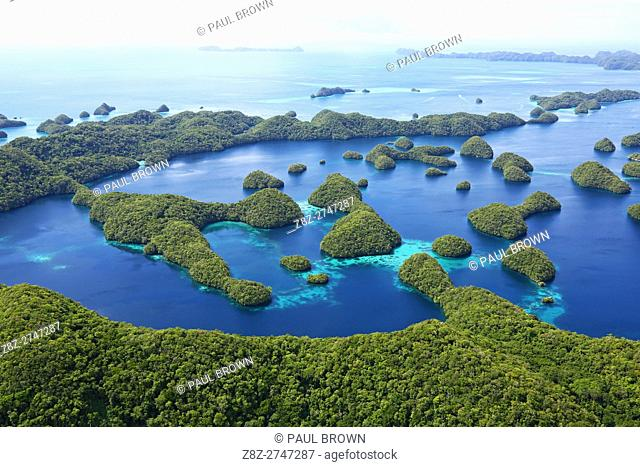 Aerial view of islands in the Archipelago of Palau, Republic of Palau, Micronesia, Pacific Ocean