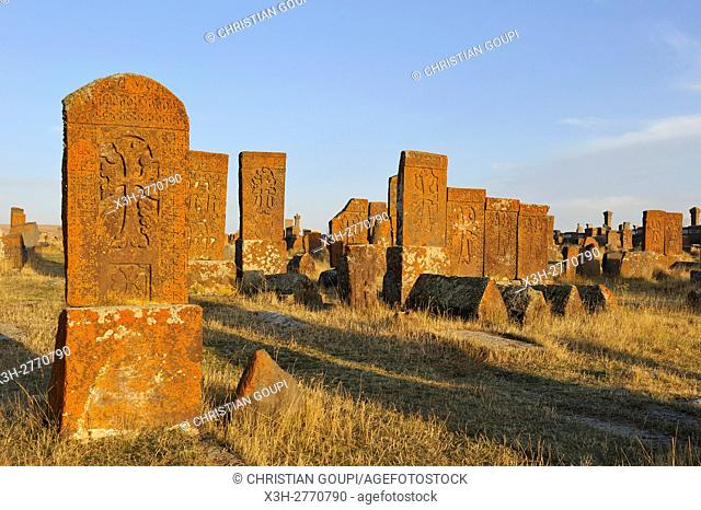 Noratus cemetery (the largest surviving cemetery with khachkars in Armenia), near Lake Sevan, Gegharkunik region, Armenia, Eurasia
