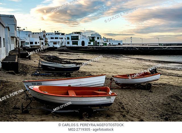 Beach of Caleta de Famara in Lanzarote Canary Islands Spain