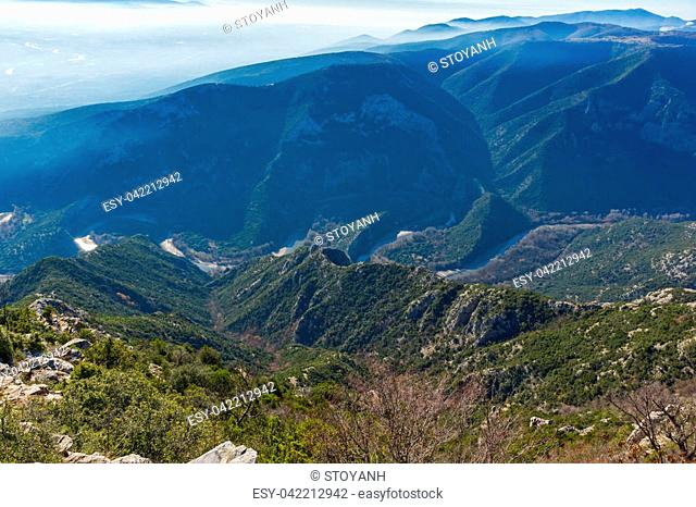 Meander of Nestos Gorge near town of Xanthi, East Macedonia and Thrace, Greece