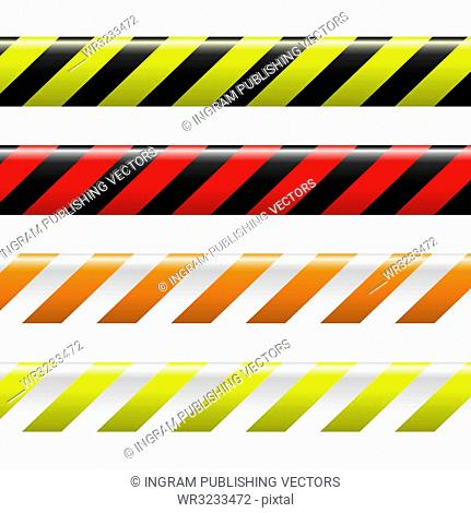collection of four warning tapes in different colours with stripes