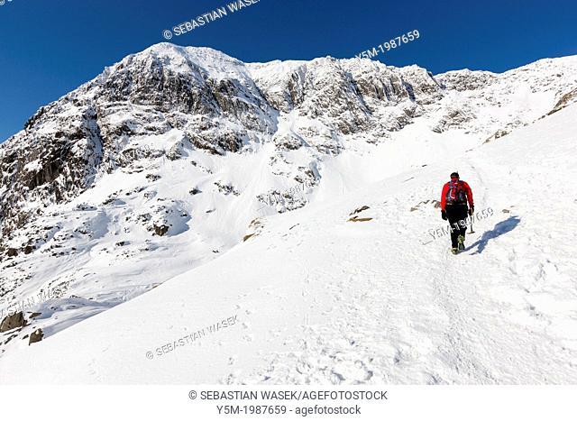 View towards Snowdon Summit (Yr Wyddfa) from Pyg Track, Snowdonia National Park, Wales, UK, Europe