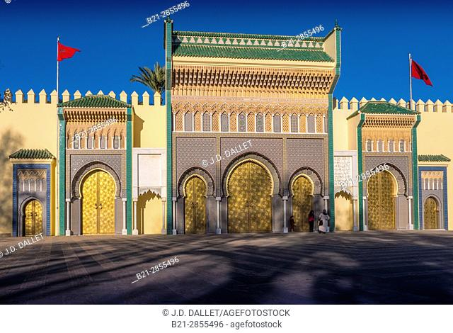 Morocco, Fes, Entrance gates to the Royal Palace, at Fes