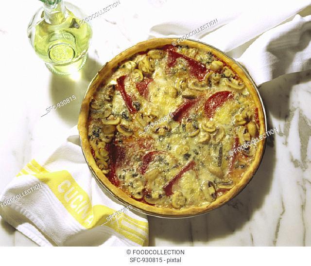 A Whole Gorgonzola-Salami Pizza