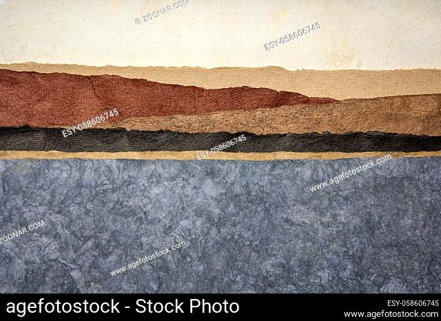 abstract landscape in earth tones created with amate bark papers handmade in Mexico from Amate, Nettle, and Mulberry trees