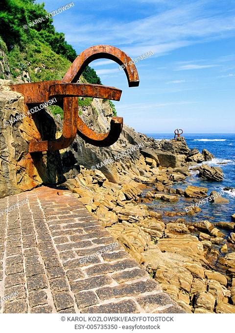 "Sculpture """"peine de los vientos"""" in Donostia - San Sebastian, Basque Country, Spain"