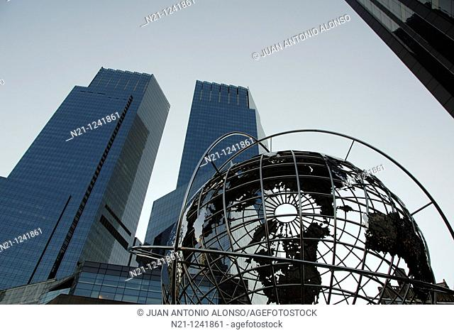 The Time Warner Center mixed use twin towers and Globe sculpture in front of the Trump International Hotel and Tower. Columbus Circle, Northwest  Manhattan