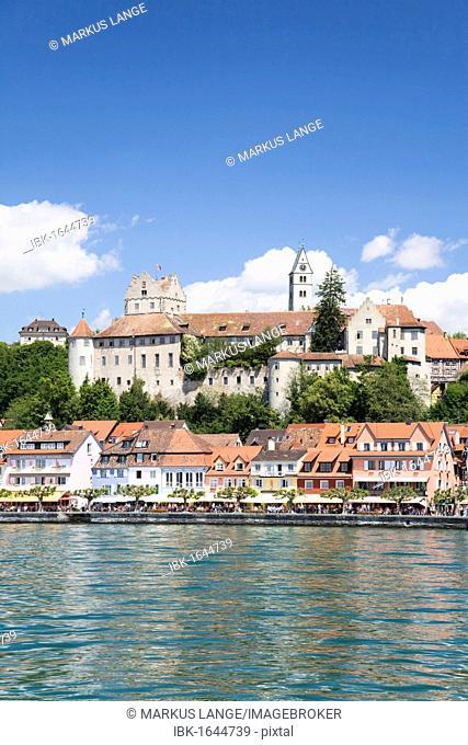 Meersburg castle, also known as Alte Burg castle, and the lakeside promenade, Meersburg, Lake Constance, Baden-Wuerttemberg, Germany, Europe