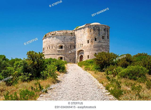 Fort Arza towers, ancient fortress, part of defense of The Bay of Kotor. Now is closed. Montenegro