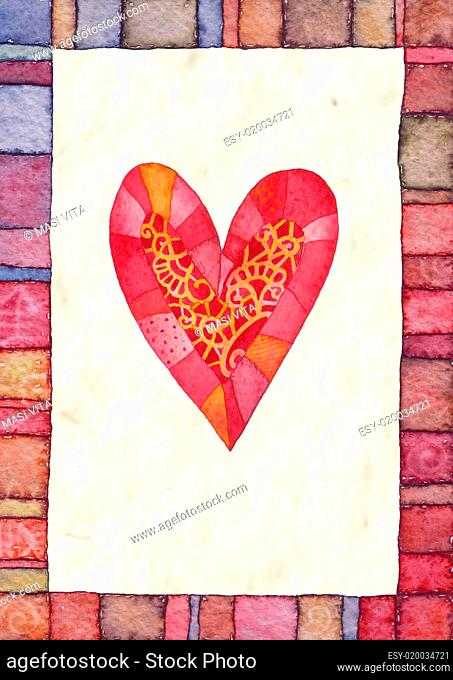 Heart, watercolor