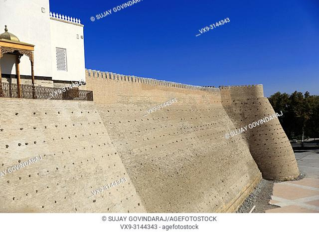 Bukhara, Uzbekistan - August 27, 2016: The Great Ark Fortress of Bukhara, a renowned heritage site of Silk Road time in Uzbekistan