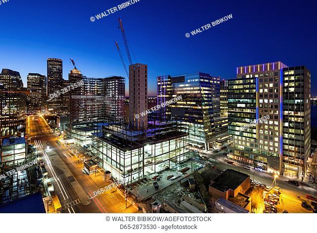 USA, Massachusetts, Boston, elevated city skyline from South Boston, dusk