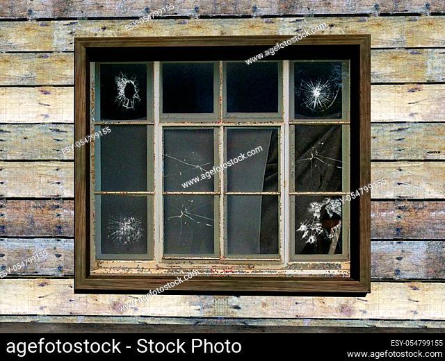 altes Landhaus mit kaputten Glasscheiben
