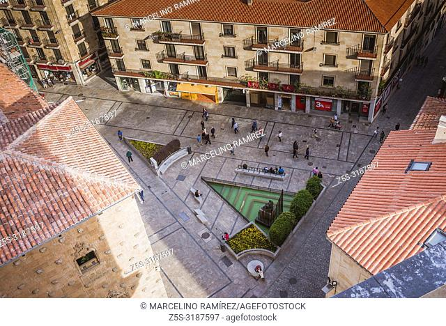 Views of Salamanca from the Clerecia towers, highlighting Maestro Salinas square. Salamanca, Castilla y Leon, Spain, Europe