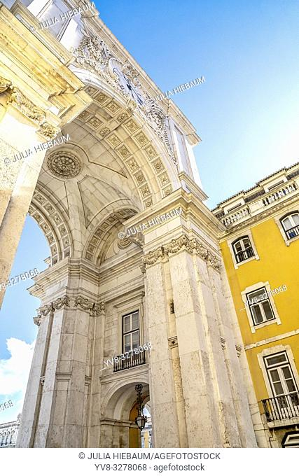 Rua Augusta arch view in Lisbon, Portugal
