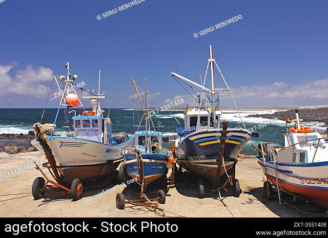 Fishing boats on trailer at the harbour, village La Santa at north coast of Lanzarote island, Canary islands, Spain, Europe
