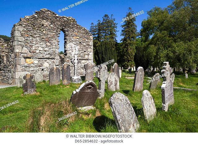 Ireland, County Wicklow, Glendalough, ancient monastic settlement started by St. Kevin, Cathedral of Saints Peter and Paul, exterior