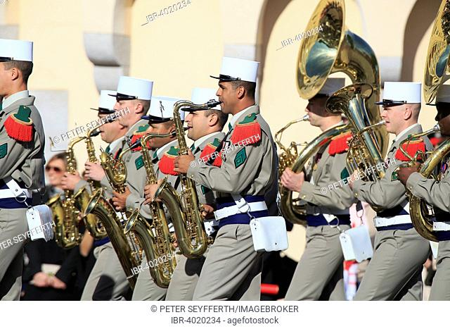 Military band, parade in front of the Prince's Palace, National Fête du Prince, Principality of Monaco