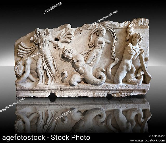 2nd Cent. AD Roman relief sculpture depicting Gigantomachy, the battle between the gods & the giants. From Aphrodisias (Geyne, Ayden), Turkey