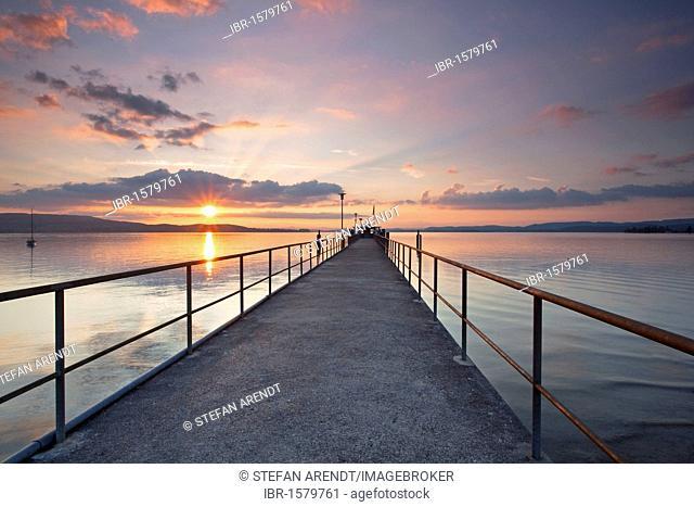 Pier in evening light near Mannenbach on Lake Constance, Switzerland, Europe