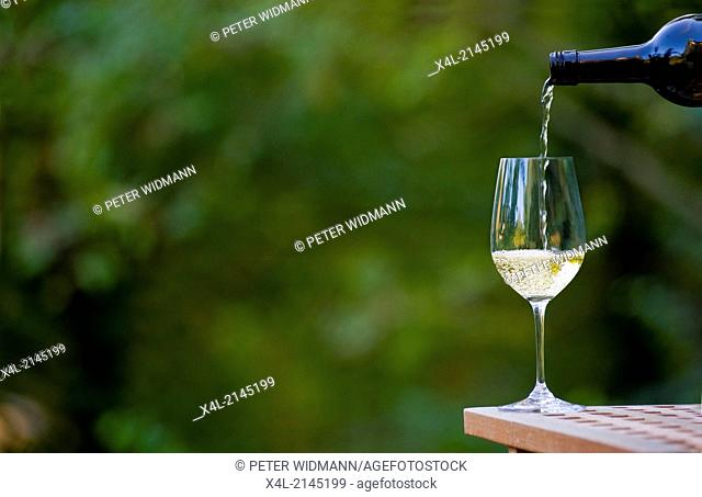 wine glass with bottle